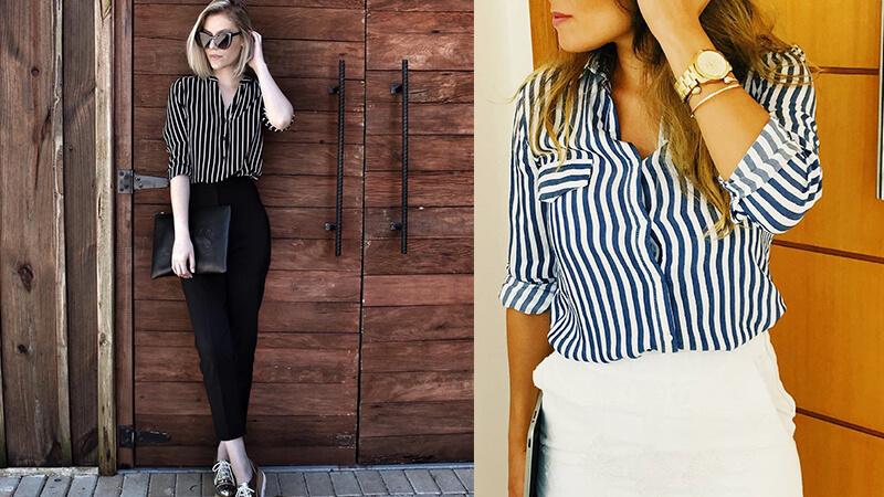 Model baju kerja wanita - Kemeja Bergaris